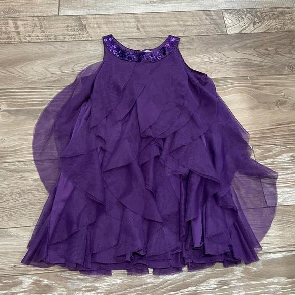 Purple formal dress with ruffles